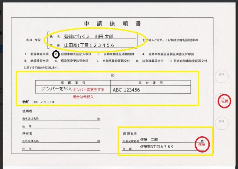 申請依頼書 書き方パターン1