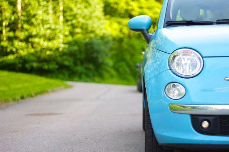 納車 青い車