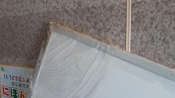 お風呂の蓋カビ落としサランラップ